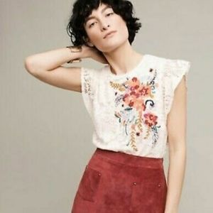 Meadow Rue Anthropologie Ivory Embroidered Top